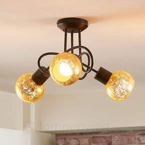 Gold getönte Deckenlampe Julien mit 3 Glasschirmen