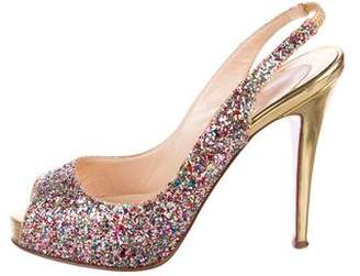 Christian Louboutin Glitter Peep-Toe Pumps