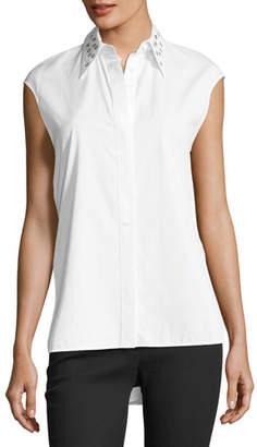 Helmut Lang Eyelet Sleeveless Button-Front Poplin Top