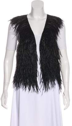 Theory Sleeveless Ostrich Feather Vest
