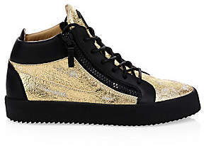 Giuseppe Zanotti Men's Mid-Top Distressed Metallic Sneakers