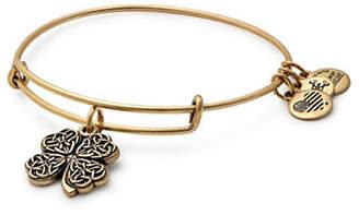 Alex and Ani Goldtone Four Leaf Clover Charm Bangle Bracelet