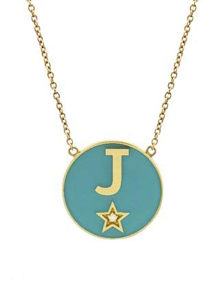 Andrea Fohrman Turquoise French Enamel Initial Necklace with Diamond Star