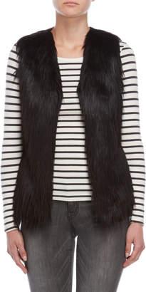 Unreal Fur Black Shaggy Faux Fur Vest
