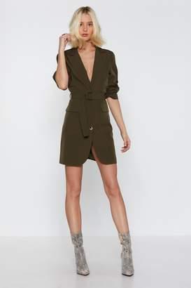 b33c32d9f6f2 Nasty Gal Ring Pull Belted Mini Blazer Dress