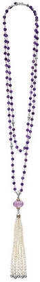 "Lagos 18k Caviar Forever Beaded Pearl Tassel Necklace, 36"""