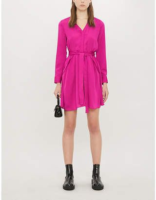 Maje Tie-belt crepe mini dress