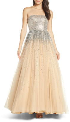 Mac Duggal Bejeweled Strapless Tulle Evening Dress