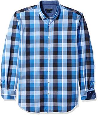 Bugatchi Men's Checkered Pick Stitched Fitted Button Down Shirt
