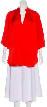 By Malene Birger Pleat-Accented V-Neck Blouse