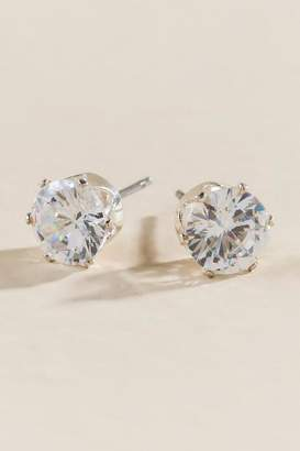 francesca's Lacy Cubic Zirconia Round Stud Earrings - Silver