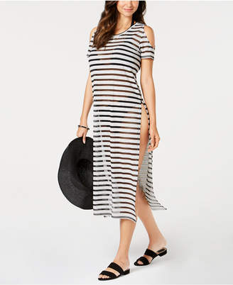 75fdf45762 Calvin Klein Crochet Striped Cold-Shoulder Cover-Up Women Swimsuit