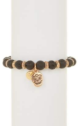 Rave By Perepaix Black Lave Stone Skull Stretch Bracelet