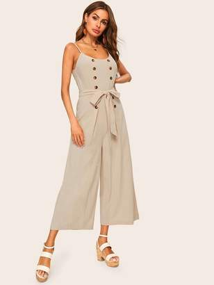 Shein Double Breasted Belted Wide Leg Cami Jumpsuit