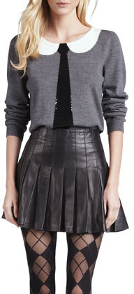 Alice + Olivia Box-Pleated Leather Skirt