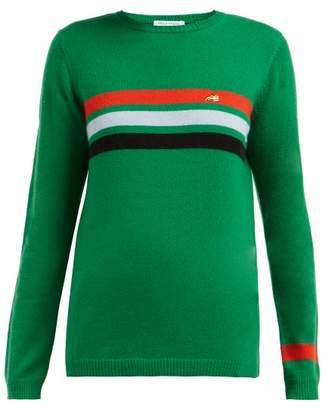 Bella Freud Daytona Striped Cashmere Sweater - Womens - Green Multi