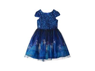 Us Angels Cap Sleeve Lace Dress w/ Unicorn Print (Big Kids)