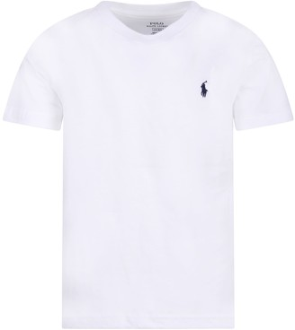 Ralph Lauren White Kids T-shirt With Blue Pony Logo
