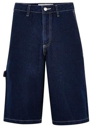 Topman Mens Blue Indigo Carpenter Shorts