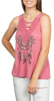 Licensed Juniors' Criss Cross Lace-Front Graphic Swing Tank