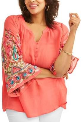 Lifestyle Attitude Women's Plus Embroidered Sleeve Peasant Top