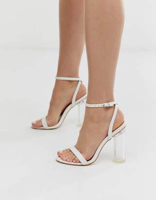 Public Desire Blink clear heel barely there sandals in white mock croc