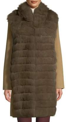Belle Fare Lightweight Cashmere Coat with Detachable Fur-Front Vest