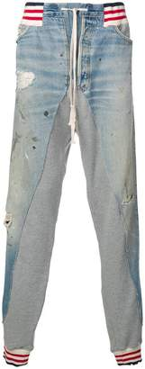Greg Lauren denim patch track pants