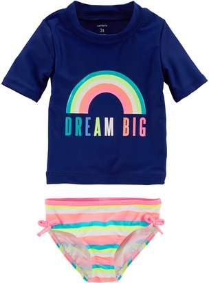 "Carter's Toddler Girl Dream Big"" Rainbow Rashguard & Bottoms Swim Set"