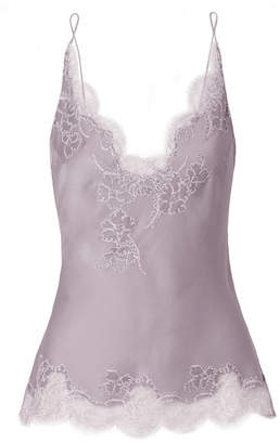 Carine Gilson Anna Chantilly Lace-trimmed Silk-satin Camisole - Lilac