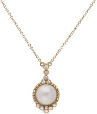 Judith Ripka 14K Gold Mabe Pearl & Diamond Pendant w/ Chain