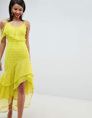 Asos Design DESIGN asymmetric tiered broderie maxi dress