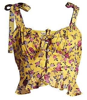 For Love & Lemons Women's Beaumont Stretch-Silk Babydoll Top
