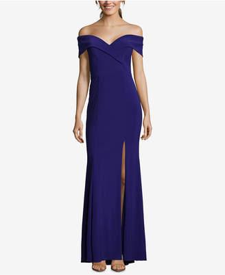 Xscape Evenings Petite Off-The-Shoulder Evening Gown