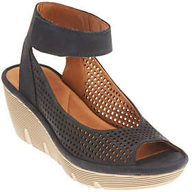 Clarks Artisan Nubuck or Leather Cut-out Wedges- Clarene Prima