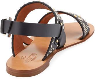 Valentino Flat Embellished Leather Sandals