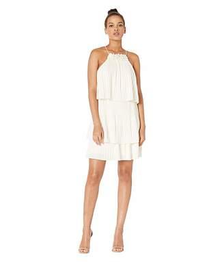 Halston Sleeveless Pleated Tier Jersey Dress