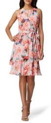 Tahari Floral Chiffon Tiered Shift Dress