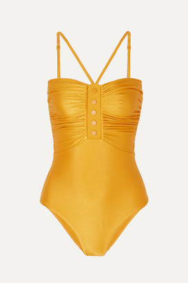 Zimmermann Allia Ruched Metallic Swimsuit - Gold
