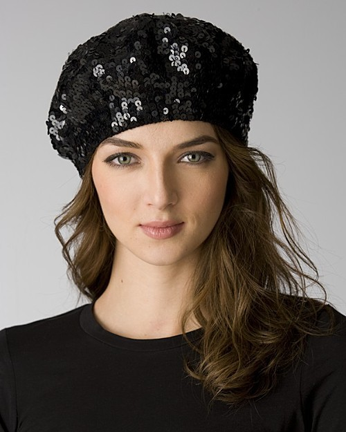 Aqua Women's Sequined Knit Beret: Exclusively at Bloomingdale's