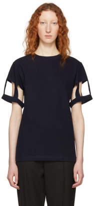 Maison Margiela Navy Cut-Out Sleeve T-Shirt