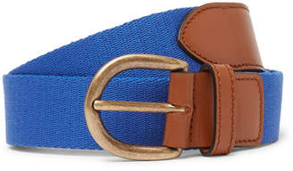 Anderson & Sheppard 3cm Blue Webbing And Leather Belt