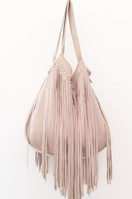 Areias Leather Nude Fringes Bag