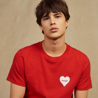 Sandro Cotton T-Shirt With Flocked Heart