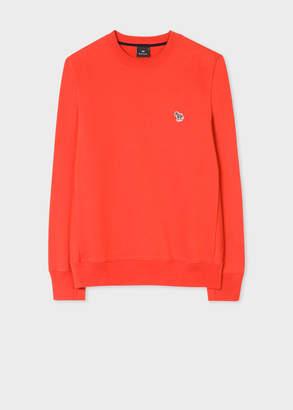 Paul Smith Men's Orange Organic-Cotton Zebra Logo Sweatshirt