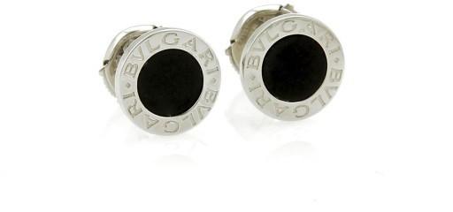 Bvlgari Bulgari 18K White Gold with Onyx Stud Earrings