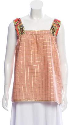 Vineet Bahl Checked Print Embroidered Top