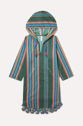 Zimmermann Kids - Allia Hooded Tasseled Striped Cotton Kaftan - Green
