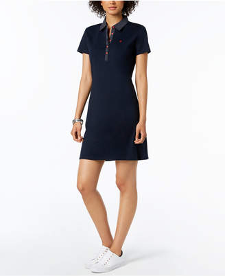 Tommy Hilfiger Cotton Polka-Dot Collar Polo Dress, Created for Macy's