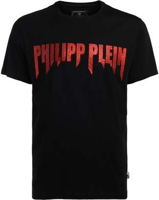 Philipp Plein Model Platinum Cut Black And Red T-shirt With Crystals